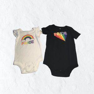 🆕0-3 Month 2-pack Onesies w Rainbow